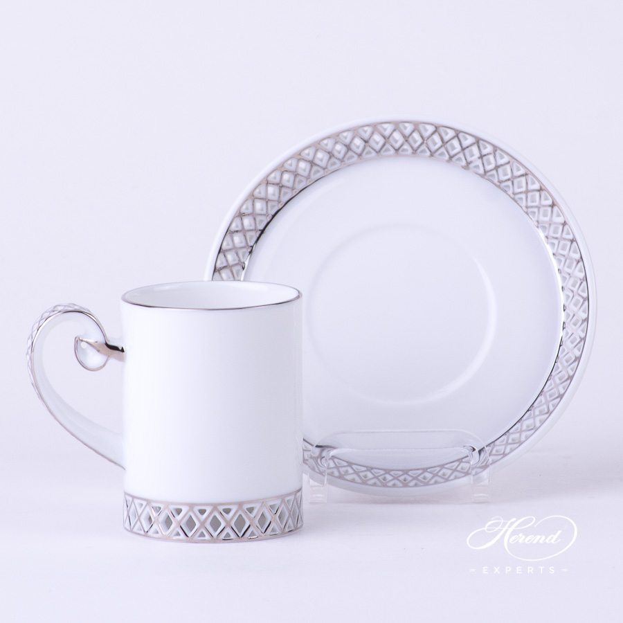 Mocha Cup with Saucer 4756-0-00 Babos-PT Platinum decor - Herend porcelain hand painted.