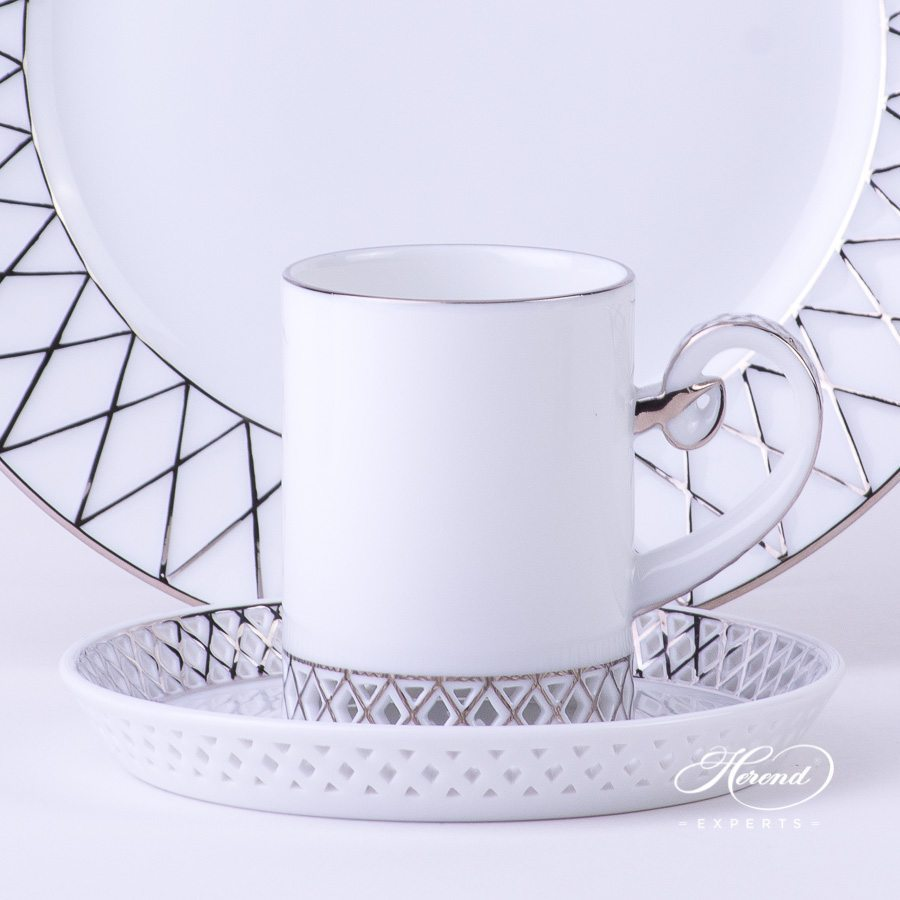 Mocha Cup with Saucer 4756-0-00 Babos-PT Platinum decor and Dessert Plate 4763-0-00 BABOS-PT Platinum decor - Herend porcelain hand painted.