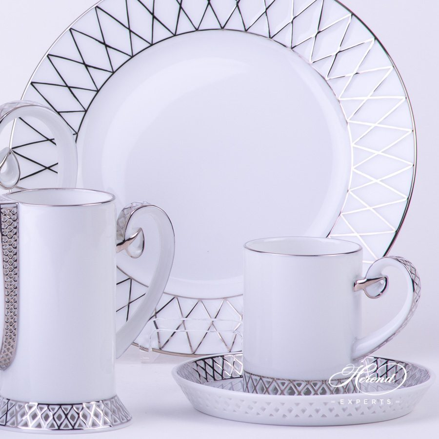Mocha Set for 2 Persons - Babos-PT Platinum pattern - Herend porcelain hand painted.
