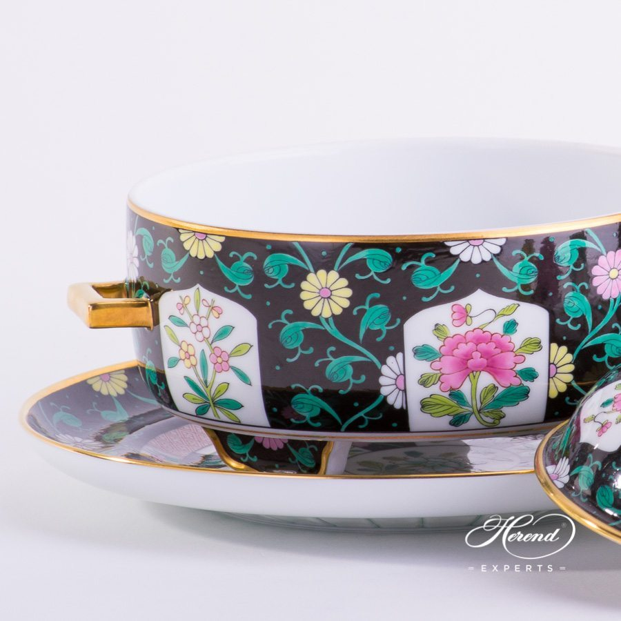 Tea Caddy with Tray 6369-0-21 SN Siang Black Chinoiserie Style pattern. Herend porcelain hand painted