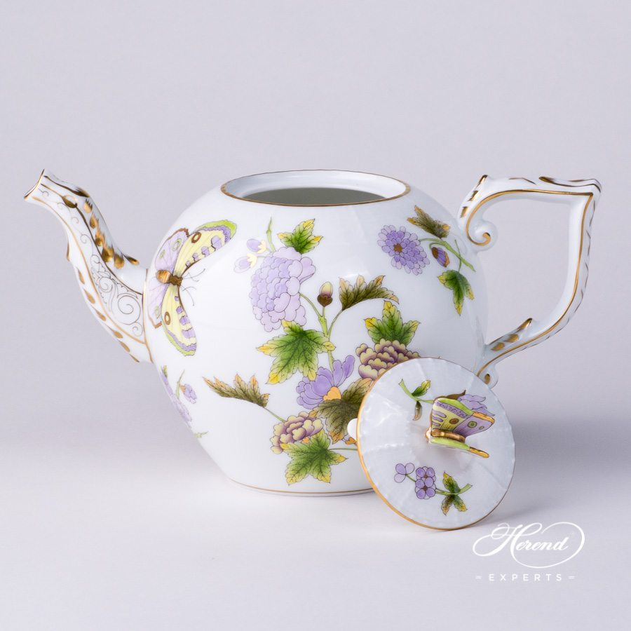 Tea Pot with Butterfly Knob 605-0-17 EVICT1 Royal Garden Green decor. Herend porcelain hand painted
