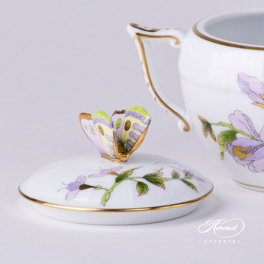 Sugar Basin with Butterfly Knob 472-0-17 EVICTF1 Royal Garden Green Flower decor - Herend porcelain hand painted.