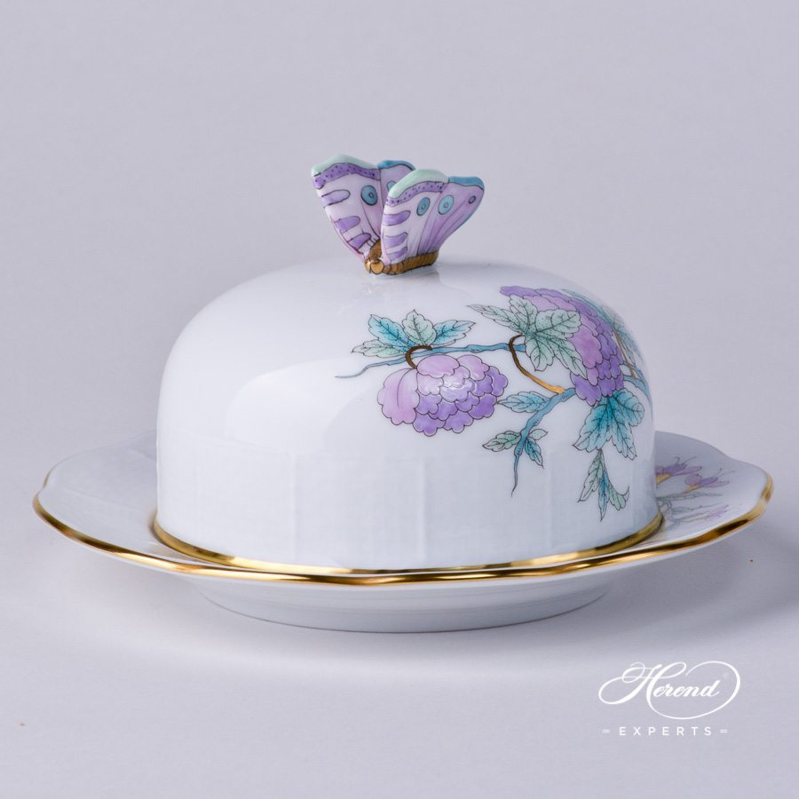 Butter Dish with Butterfly Knob 393-0-17 EVICTF2 Royal Garden Turquoise Flower decor. Herend porcelain hand painted
