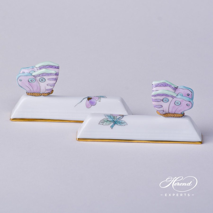 Knife Rest 276-0-17 EVICTF2 Royal Garden Turquoise Flower pattern. Herend porcelain hand painted