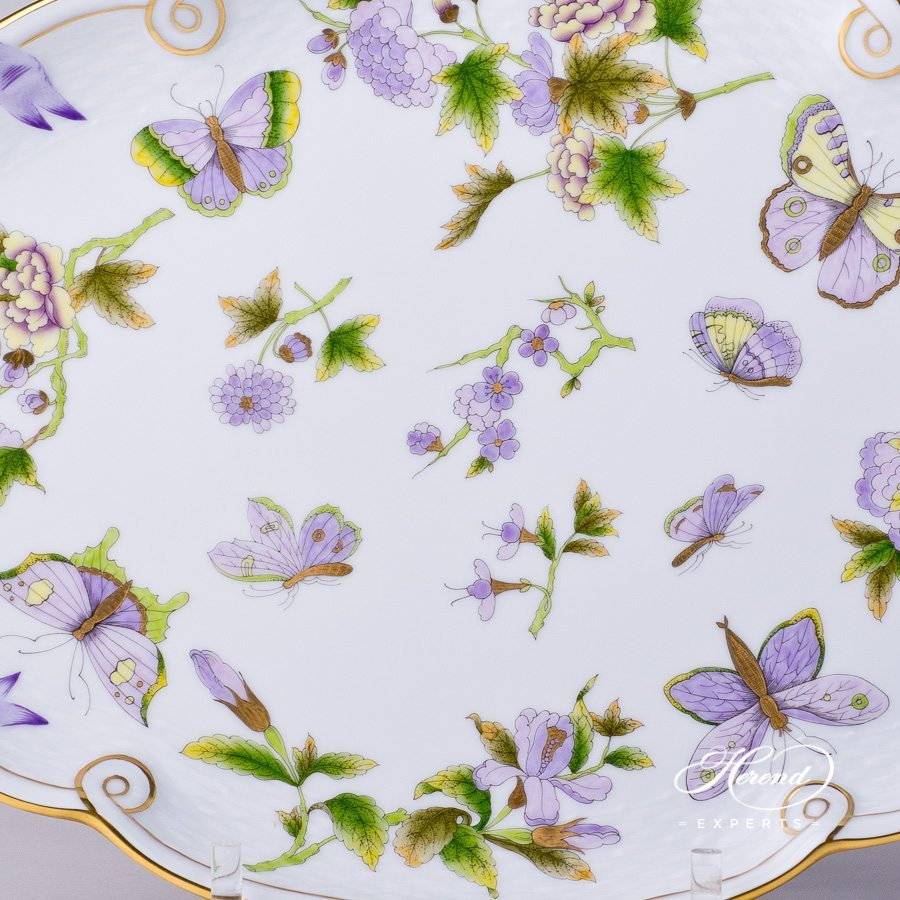 Tray with Ribbon 400-0-00 EVICT1 Royal Garden Green decor. Herend porcelain hand painted