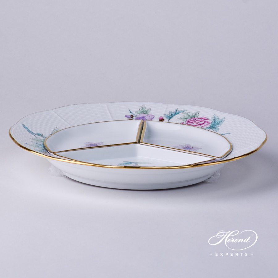 Hors D'oeuvre 441-0-00 EVICTF2 Royal Garden Flower Turquoise pattern. Herend porcelain hand painted