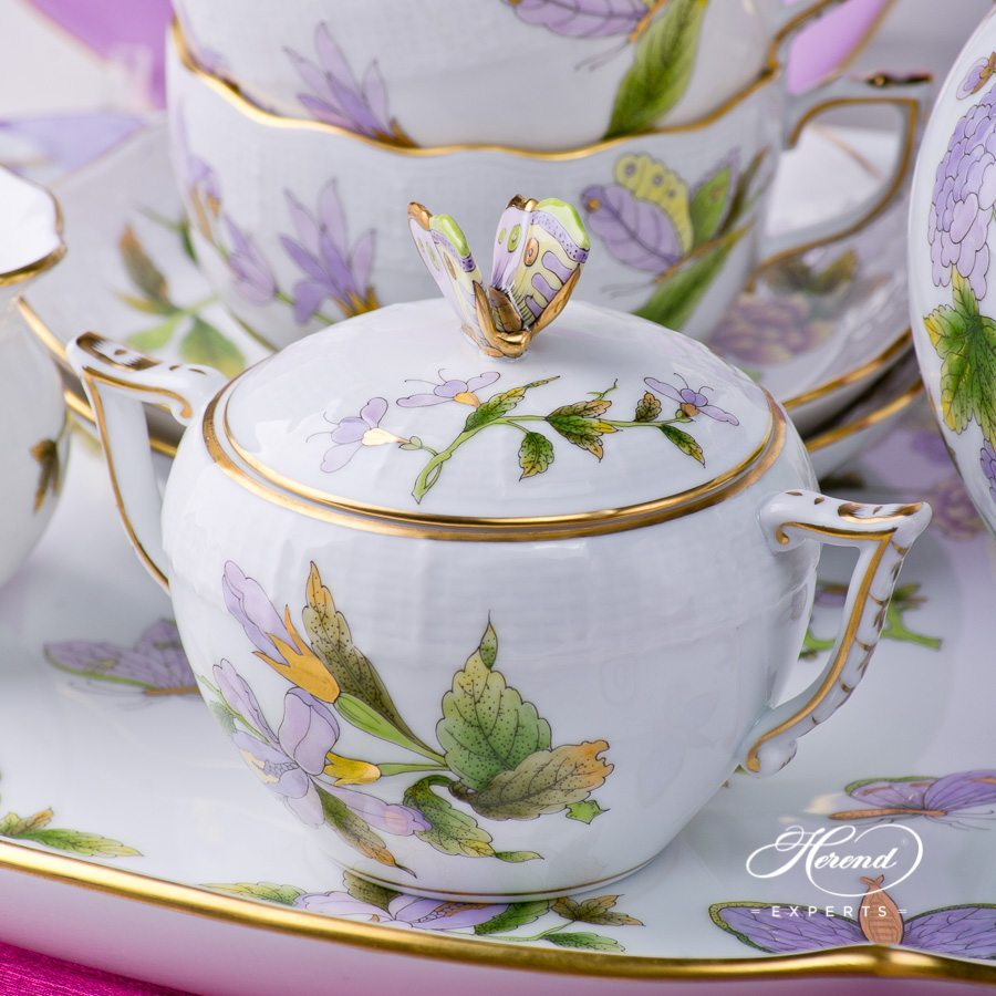 Tea Set for 2 Persons Royal Garden EVICT1 and EVICTF1 - Herend porcelain hand painted.
