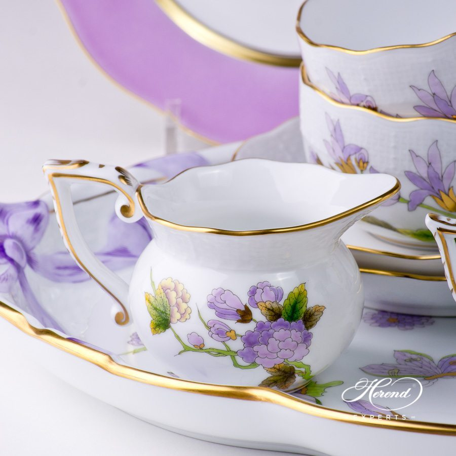 Tea Set with Dessert Plate for 2 Persons Royal Garden EVICT1 and EVICTF1 - Herend porcelain hand painted.
