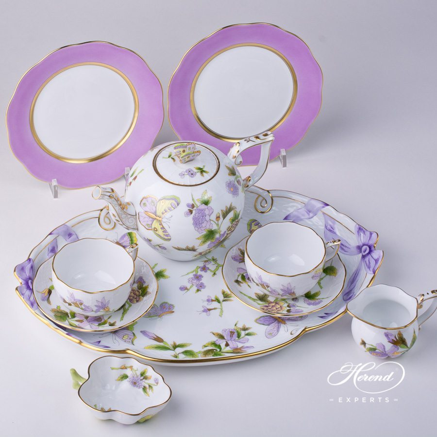 Tea Set with Dessert Plate for 2 Persons Royal Garden EVICT1 and EVICTF1 - Flower pattern - Herend porcelain hand painted.