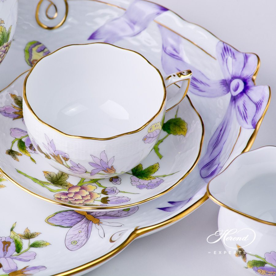 Tea Set with Dessert Plate for 2 Persons Royal Garden EVICT1 and EVICTF1 - Flower pattern ...  sc 1 st  Herend Experts & Tea Set for 2 Persons with Dessert Plate - Royal Garden | Herend Experts