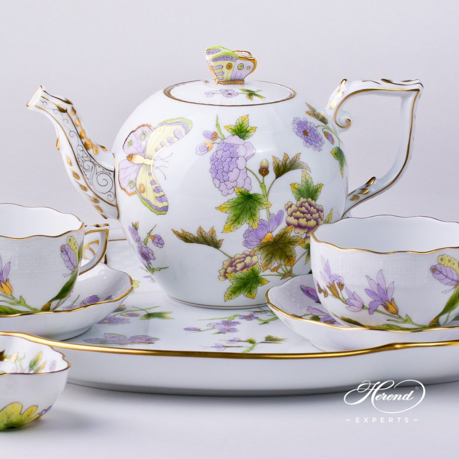 Tea Set for 2 Persons Royal Garden EVICT1 and EVICTF1 - Flower pattern - Herend porcelain hand painted.
