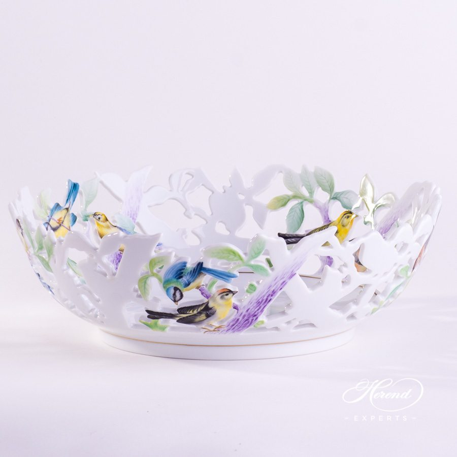Fancy Bowl with Birds 7361-0-00 CD1 Naturalistic pattern - Herend porcelain hand painted.