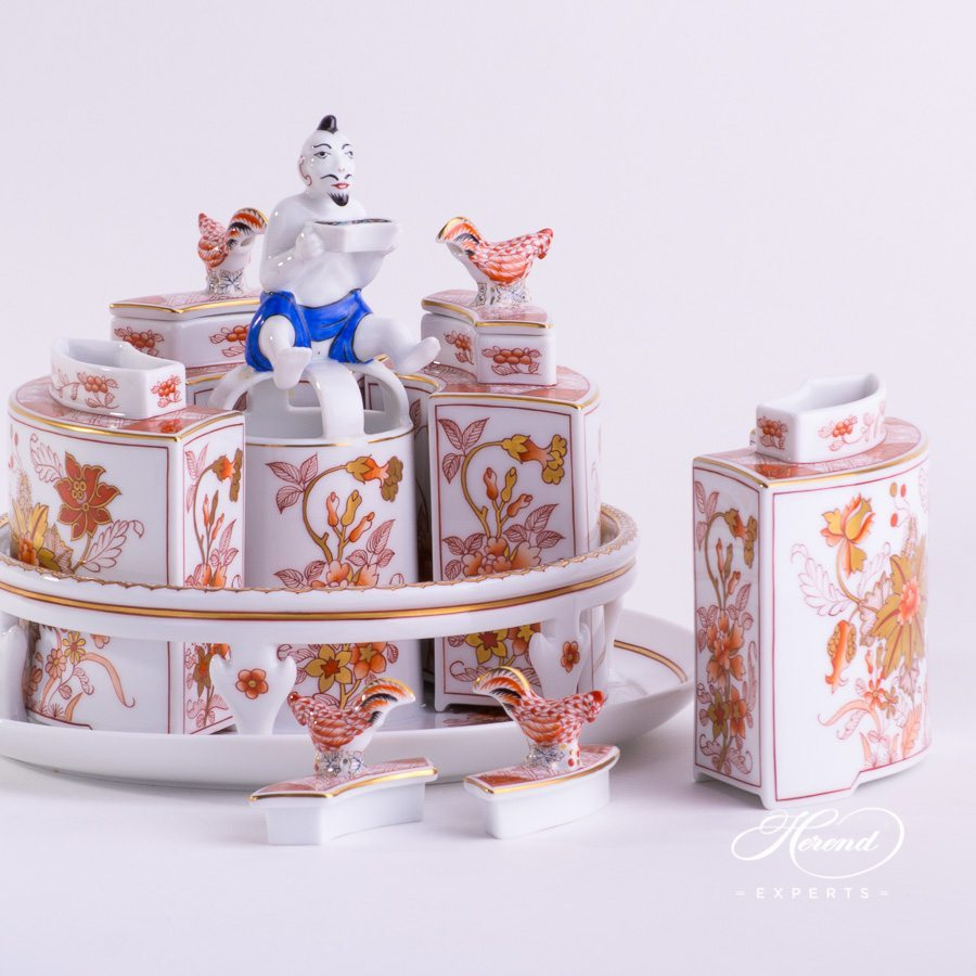 Tea Caddy with Tray 6370-0-21 TUNG Chinoiserie Style pattern - Herend porcelain hand painted.