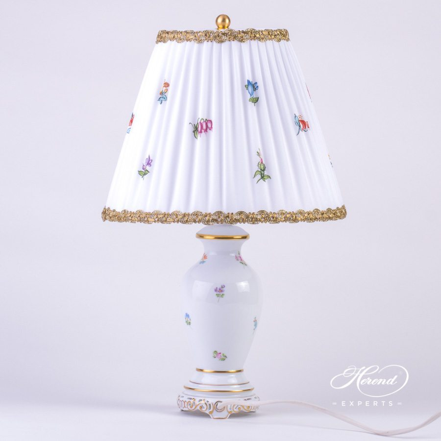 Small Lamp w. Silk Shade 6739-9-00 MF Thousand Flowers pattern. Herend hand painted fine china