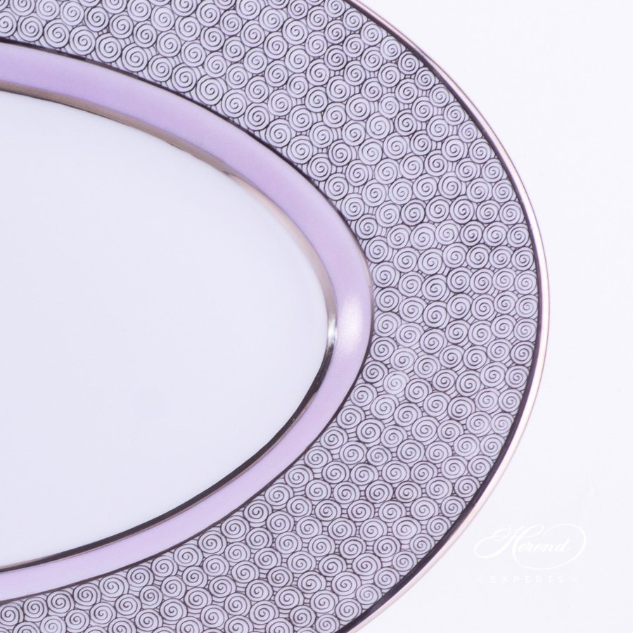 Oval Dish 2103-0-00 ORIENTL-PT Orient Lilac with Platinum decor. Herend porcelain hand painted
