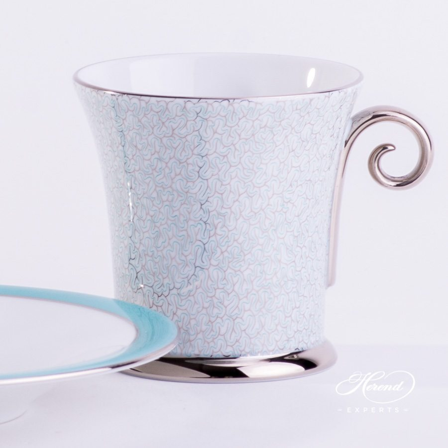 Coffee / Mocha Cup with Saucer 4914-2-00 ONYXTQ-PT Turquoise decor. Herend porcelain hand painted