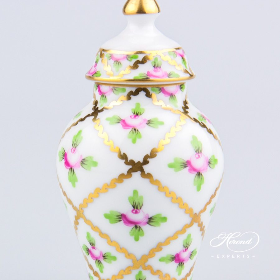 SmallVase w.Button Knob6574-0-15 SPROG Sevres Roses design. Herend fine china. Ornaments. Hand painted