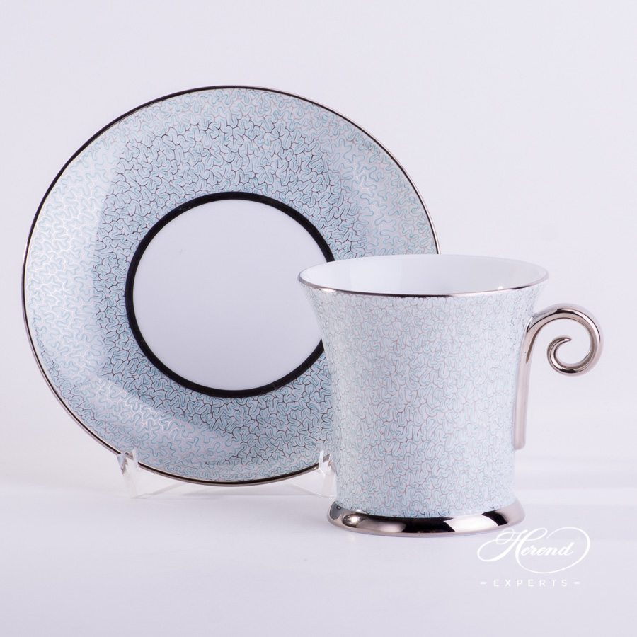 Coffee Cup with Saucer 4916-2-00 ONYXTQ-PT Onyx with 2731-1-00 ONYXTQ-PT Turquoise decor - Herend porcelain hand painted.
