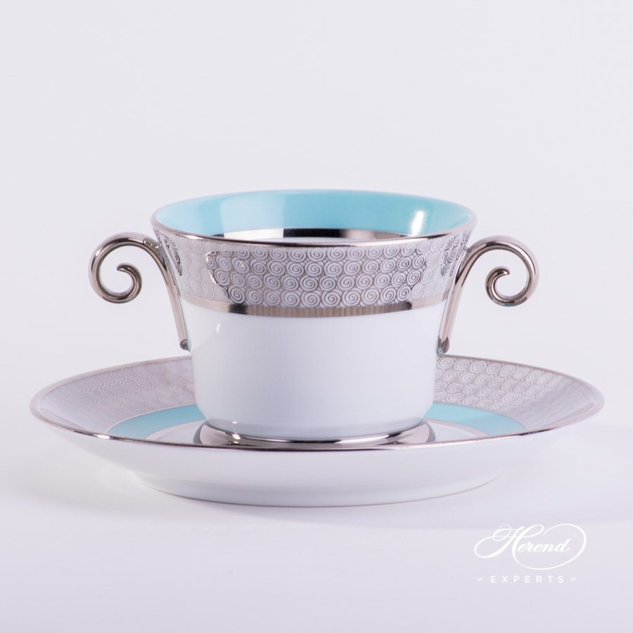 Universal Cupwith Saucer4919-0-00 ORIENTTQ-PT Orient Turquoise with Platinum decor. Herend porcelain tableware. Hand painted