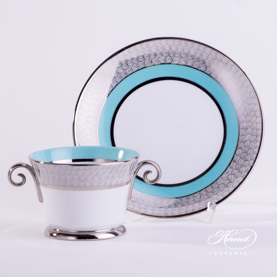 Universal Cup with Saucer 4919-0-00 ORIENTTQ-PT Orient Turquoise with Platinum decor. Herend porcelain tableware. Hand painted
