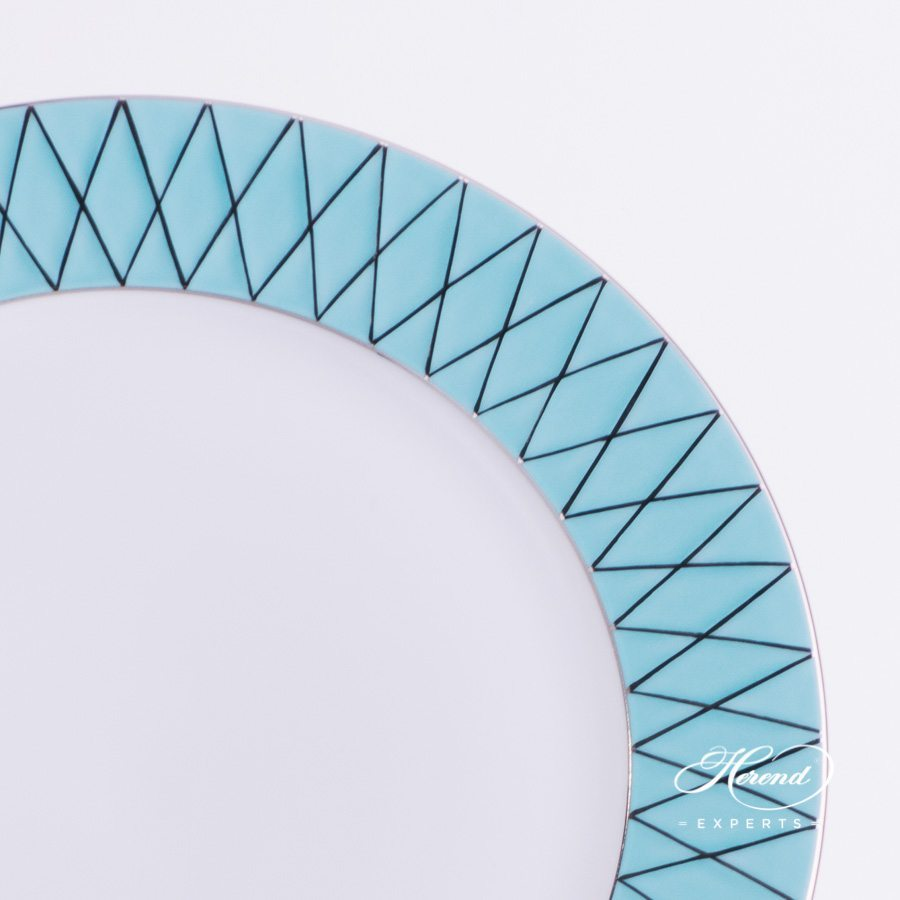 Serving Plate 4760-0-00 BABOSTQ-PT Turquoise decor - Herend porcelain hand painted.