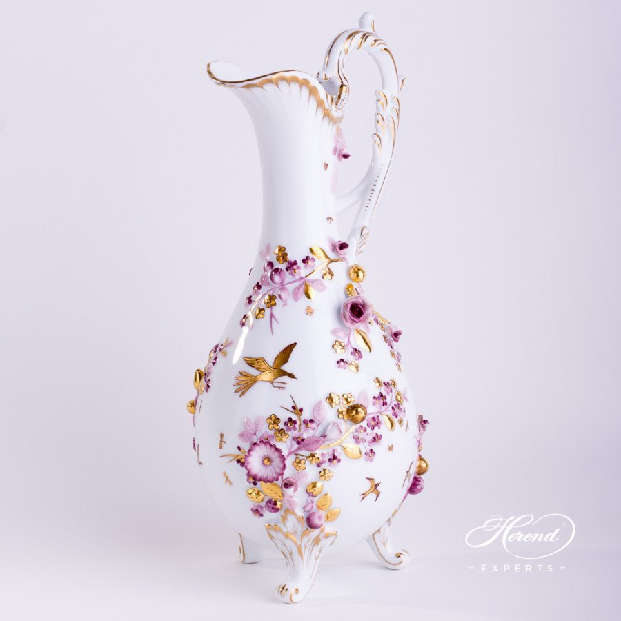 Fancy Jug with Flower Applications 7598-0-66 CD-1 Naturalistic pattern - Herend fine china hand painted.
