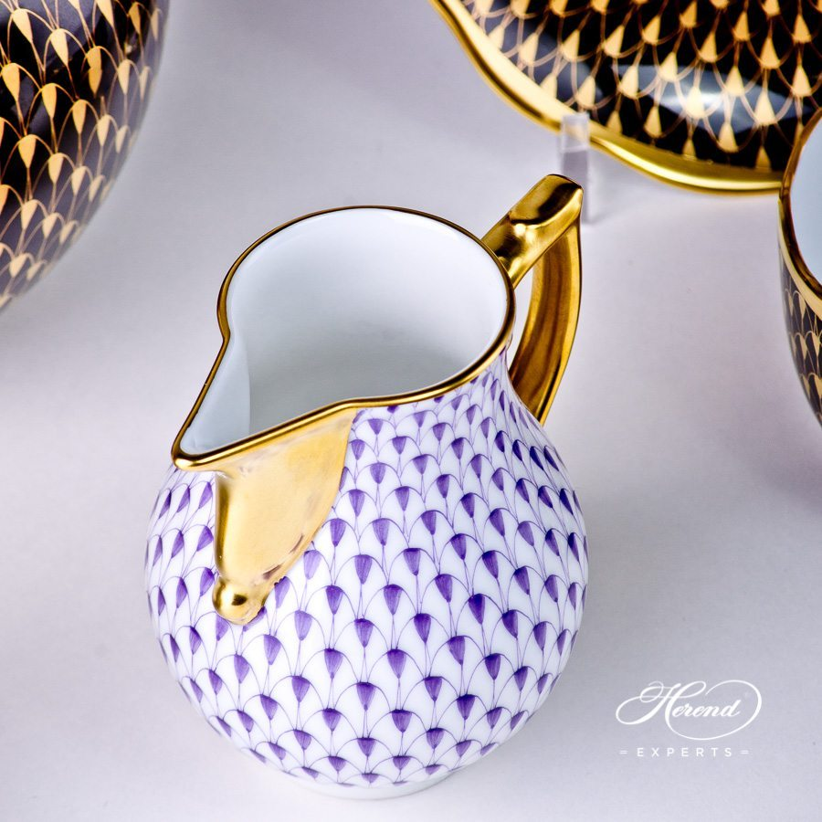 Milk Jug 20657-0-00 VHL Lilac with Gold pattern - Herend porcelain hand painted.