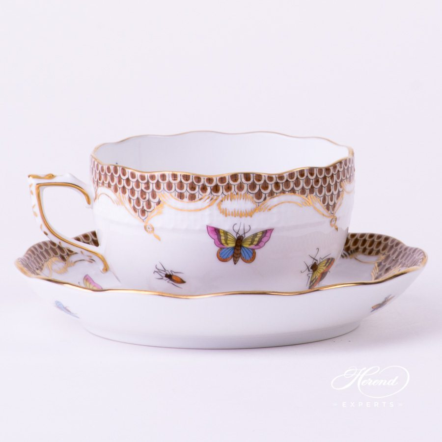 Tea Cup with Saucer 724-0-00 RO-ETM2 Rothschild Bird with Brown Fishnet decor - Herend porcelain hand painted.