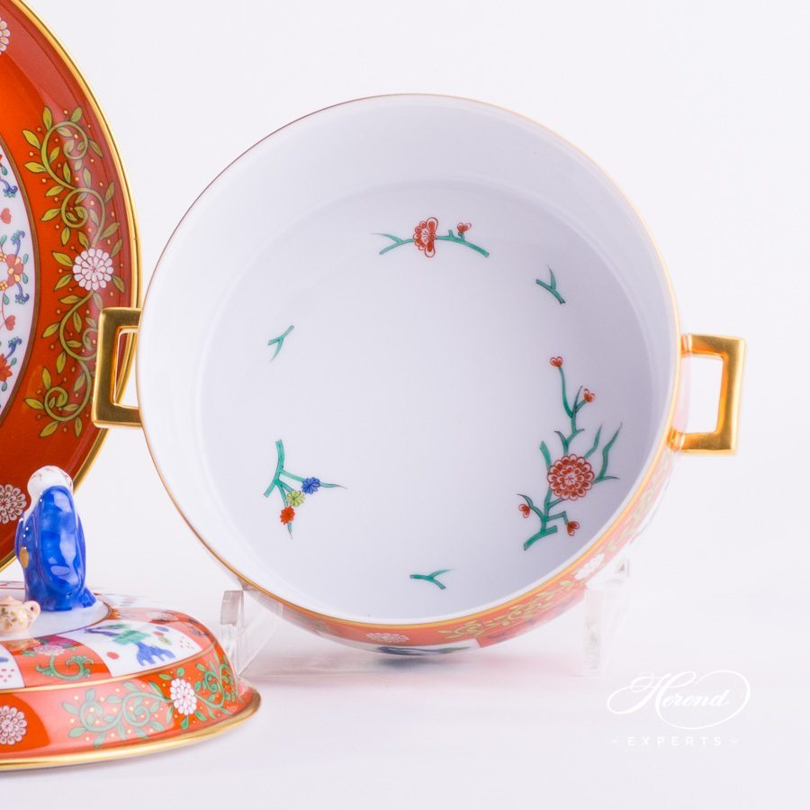 Tea Caddy with Tray 6369-0-21 G1 Godollo Chinoiserie style pattern - Herend porcelain hand painted.