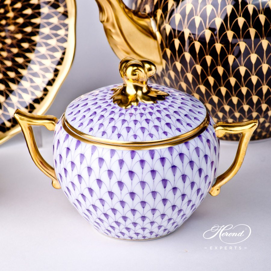 Sugar Basin with Twisted Knob 20472-0-06 VHL Lilac with Gold pattern - Herend porcelain hand painted.