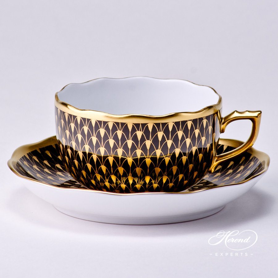 Tea Cup with Saucer 20724-0-00 VHN-OR Gold pattern - Herend porcelain hand painted.