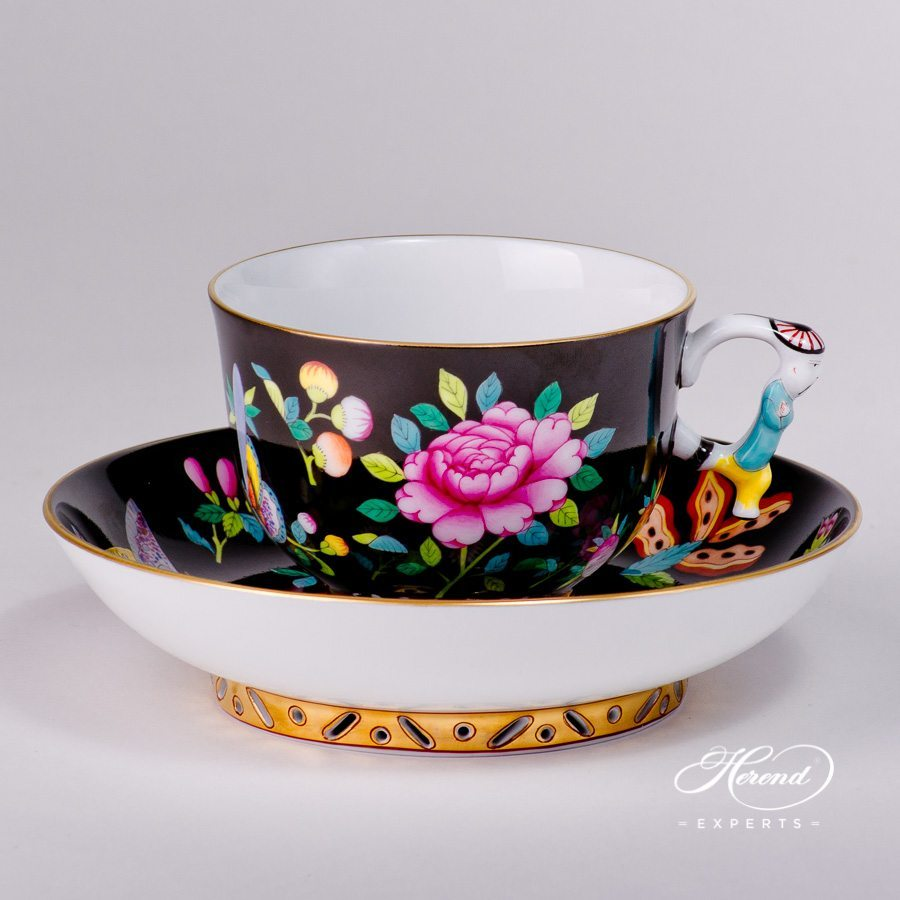 Tea Cup and Saucer 3364-0-21 SP225-FN Luxurious Butterfly Special pattern. Herend porcelain hand painted