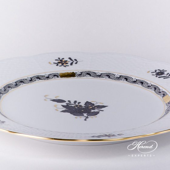 Service / Serving Plate 527-0-00 ANG Chinese Bouquet / Apponyi Black design. Herend fine china