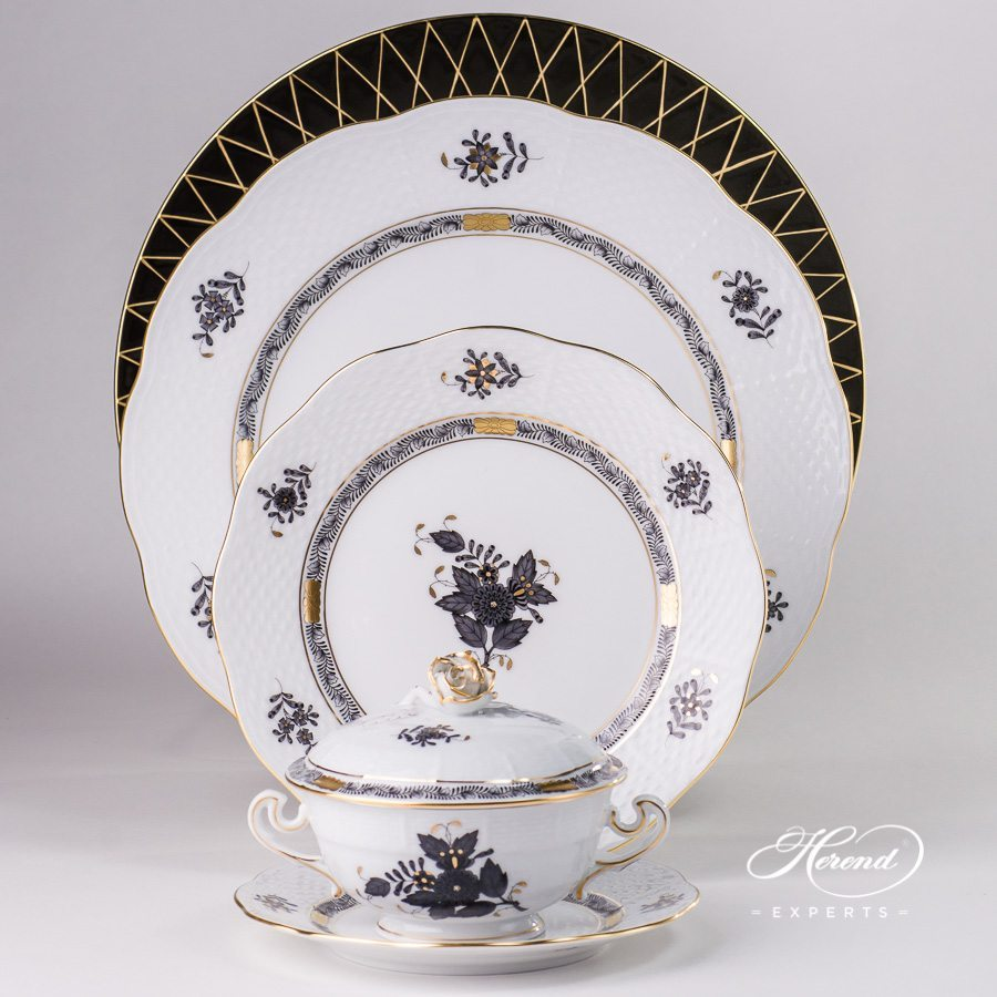 Place Setting w. Soup Cup - 6 Pieces - Chinese Bouquet / Apponyi Black - ANG design. Herend fine china