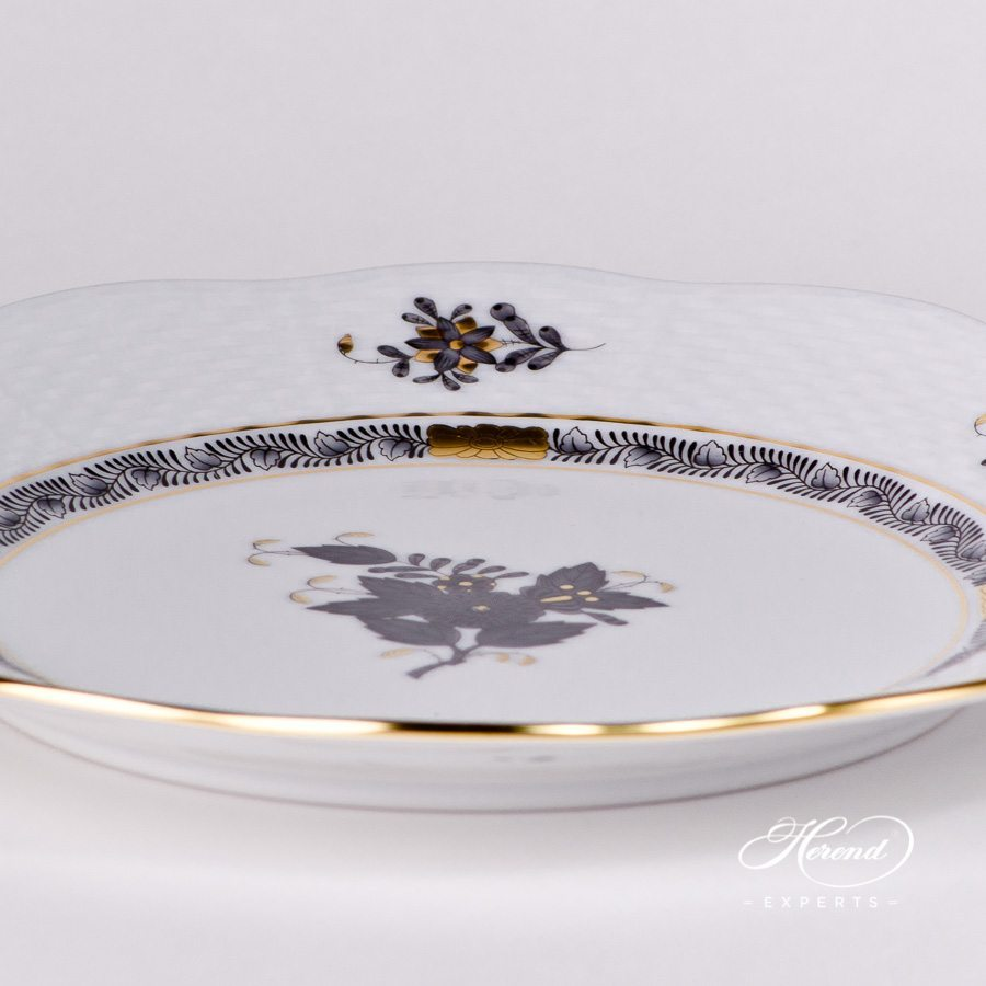 Dessert Plate 519-0-00 ANG Apponyi Black pattern - Herend porcelain hand painted.