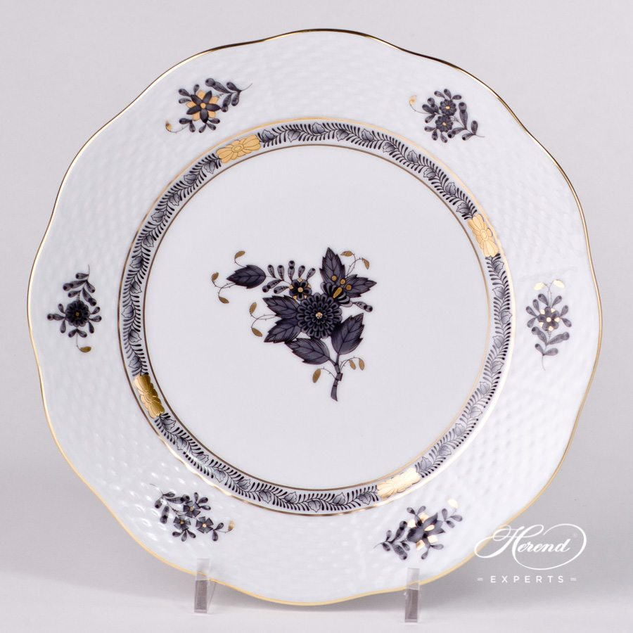 Dessert Plate 519-0-00 ANG Chinese Bouquet / Apponyi Black design. Herend fine china