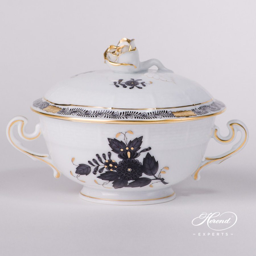 Soup Cup and Saucer with Lid 744-0-09 ANG Apponyi Black pattern - Herend porcelain hand painted.
