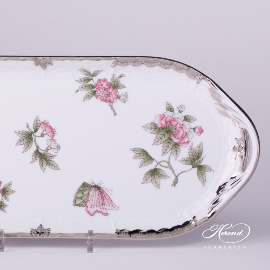 Sandwich Dish medium 436-0-00 VBOG-X1-PT Queen Victoria Platinum pattern - Herend porcelain hand painted.