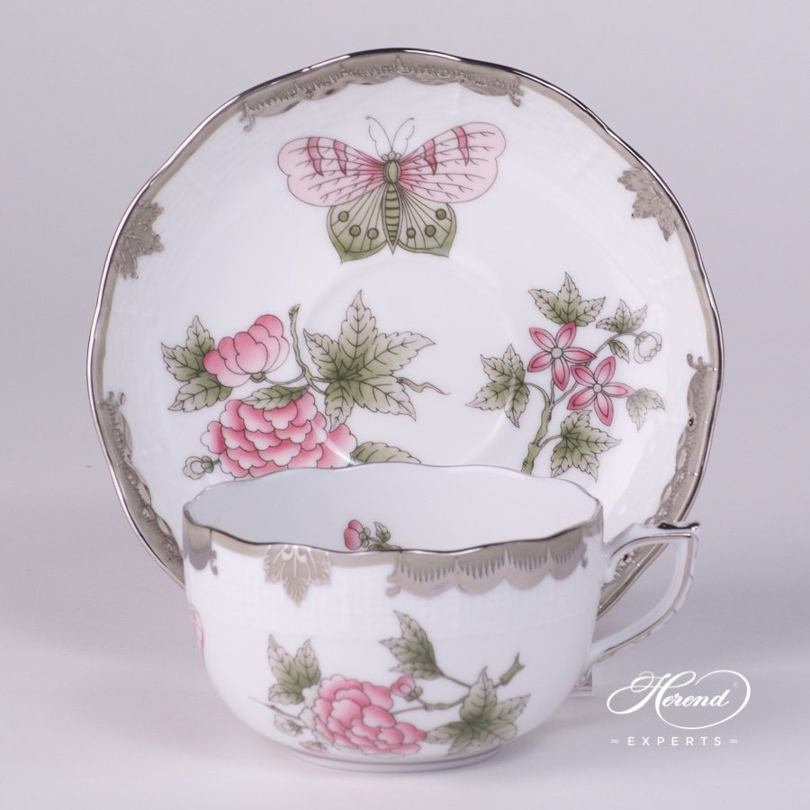 Tea Cup and Saucer 724-0-00 VBOG-X1-PT Queen Victoria Platinum pattern - Herend porcelain hand painted.