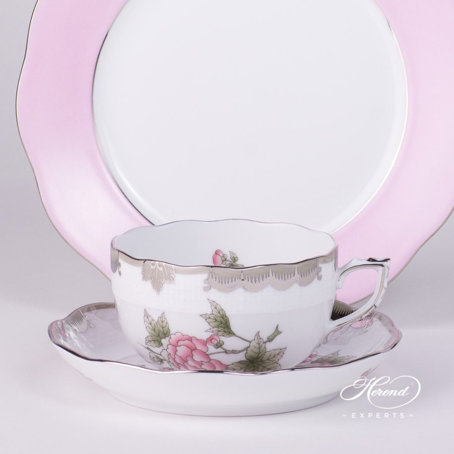 Tea Cup and Saucer VBOG-X1-PT Queen Victoria Platinum pattern with Dessert Plate CP6S-PT Pink Edge decor - Herend porcelain hand painted.