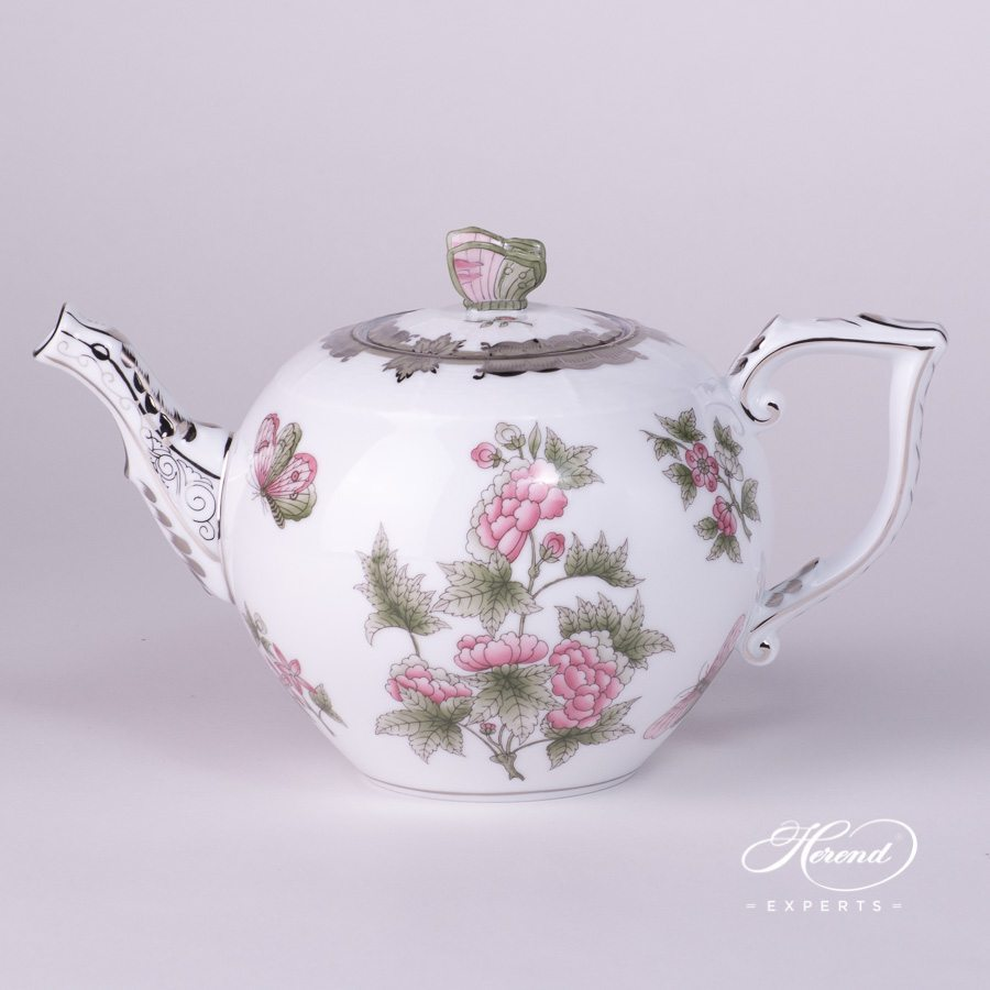 Tea Pot with Butterfly Knob 605-0-17 VBOG-X1-PT Queen Victoria Platinum pattern. Herend porcelain hand painted