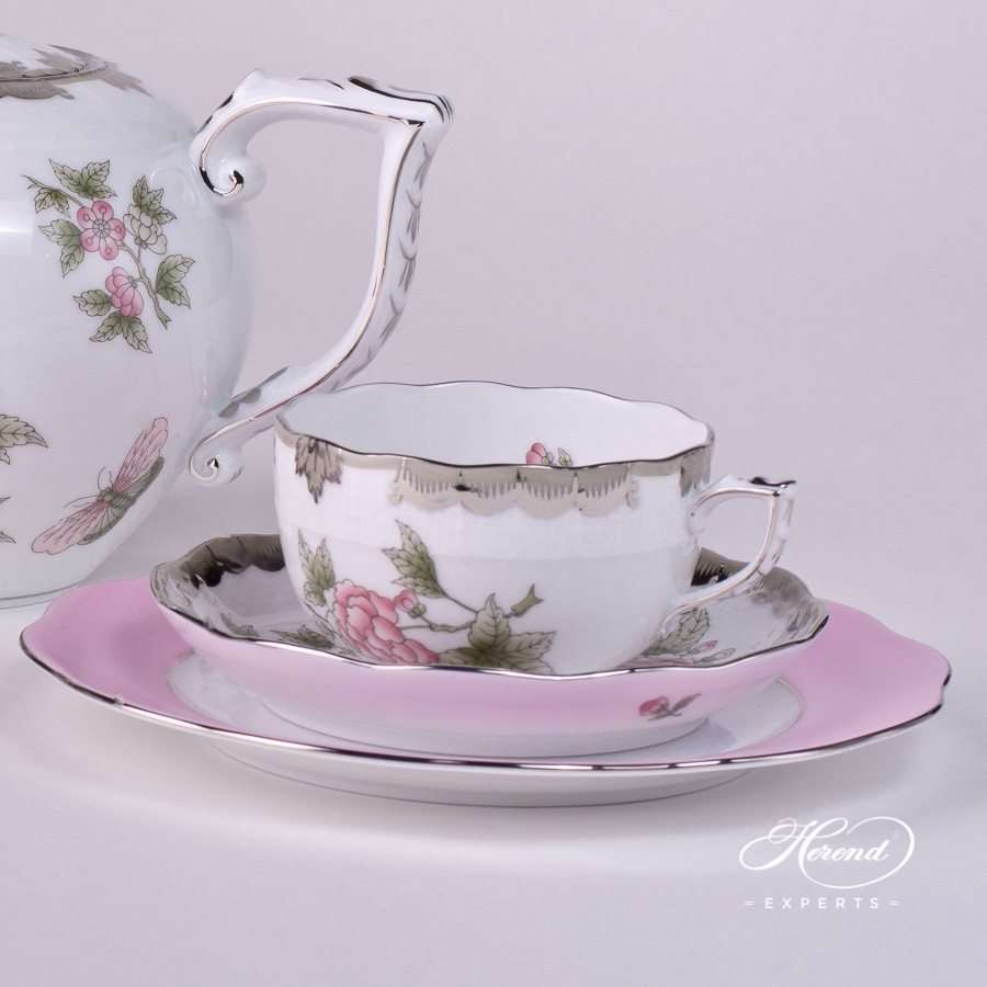 Tea Set for 2 Persons - Queen Victoria Platinum VBOG-X1-PT pattern - Herend porcelain hand painted.
