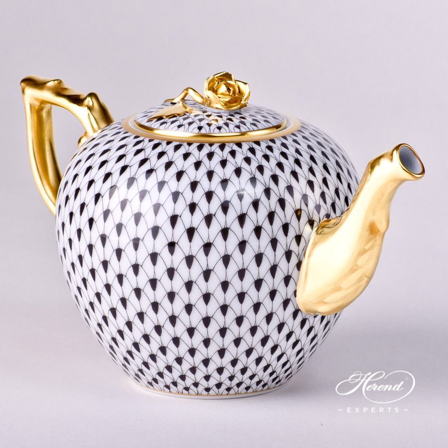 """WHALE Rust Fishnet HEREND made in Hungary 6.5/"""" long NEW Porcelain"""