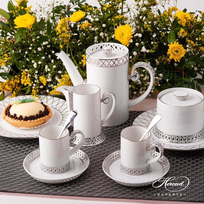 Coffee / Espresso Set for 2 Person - Herend BABOS-PT Platinum Edge pattern. Herend fine china