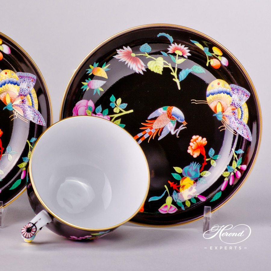 Tea Cup and Saucer for 2 Persons 3364-0-21 SP225-FN Luxurious Butterfly Special pattern - Herend porcelain hand painted