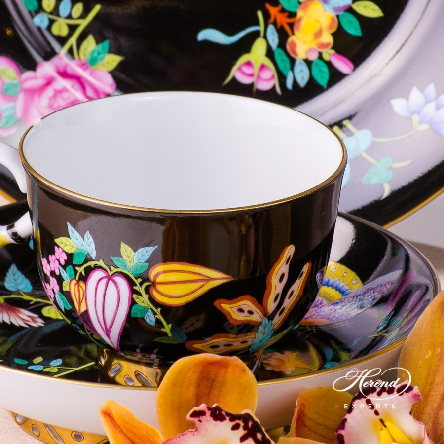 Basic Tea Set for 2 Persons- SP225-FN Luxurious Butterfly on Black Background decor. Herend porcelain hand painted