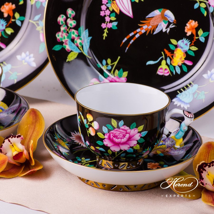 Basic Tea Set for 2 Persons - SP225-FN Luxurious Butterfly on Black Background decor. Herend porcelain hand painted