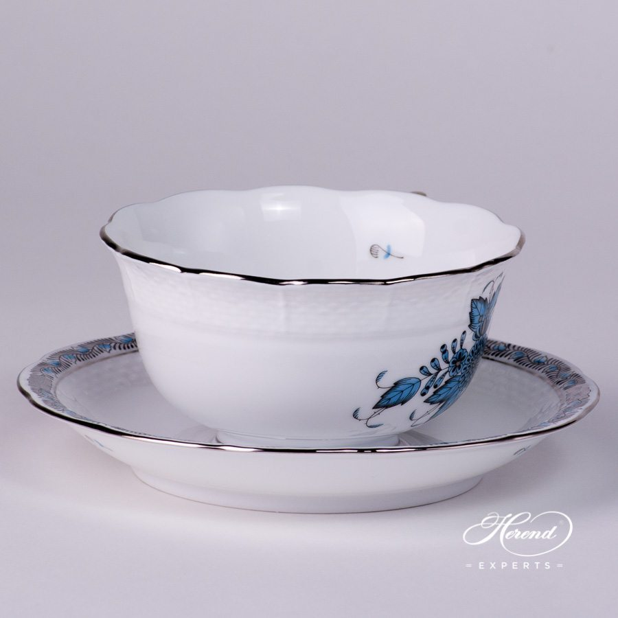 Tea Cup and Saucer 733-0-00 ATQ3-PT Apponyi Turquoise pattern - Herend porcelain hand painted.