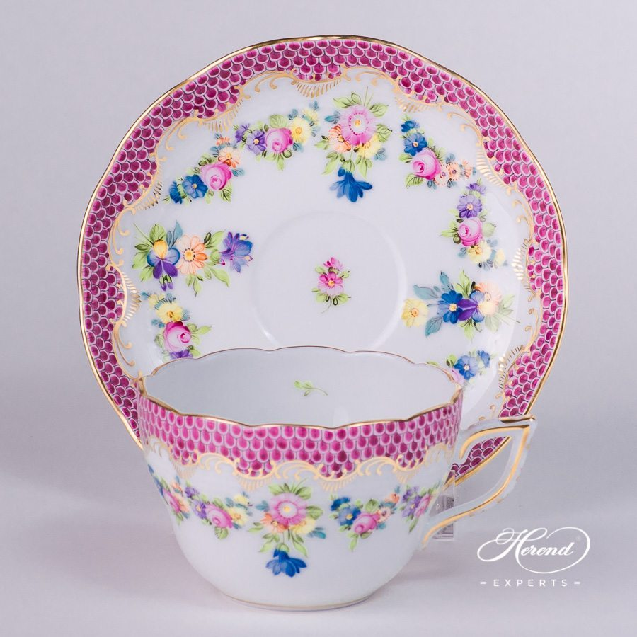Tea Cup / Coffee Cup w. Saucer 730-0-00 LTBS-EPH Flower Garland Purple Fish Scale. Herend fine china hand painted. Universal Cup