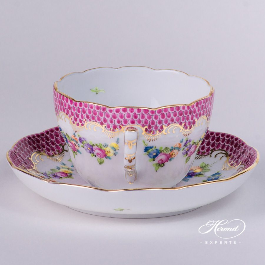 Tea Cup or Coffee Cup and Saucer 730-0-00 LTBS-EPH Flower Garland Purple Fish Scale decor. Herend porcelain hand painted